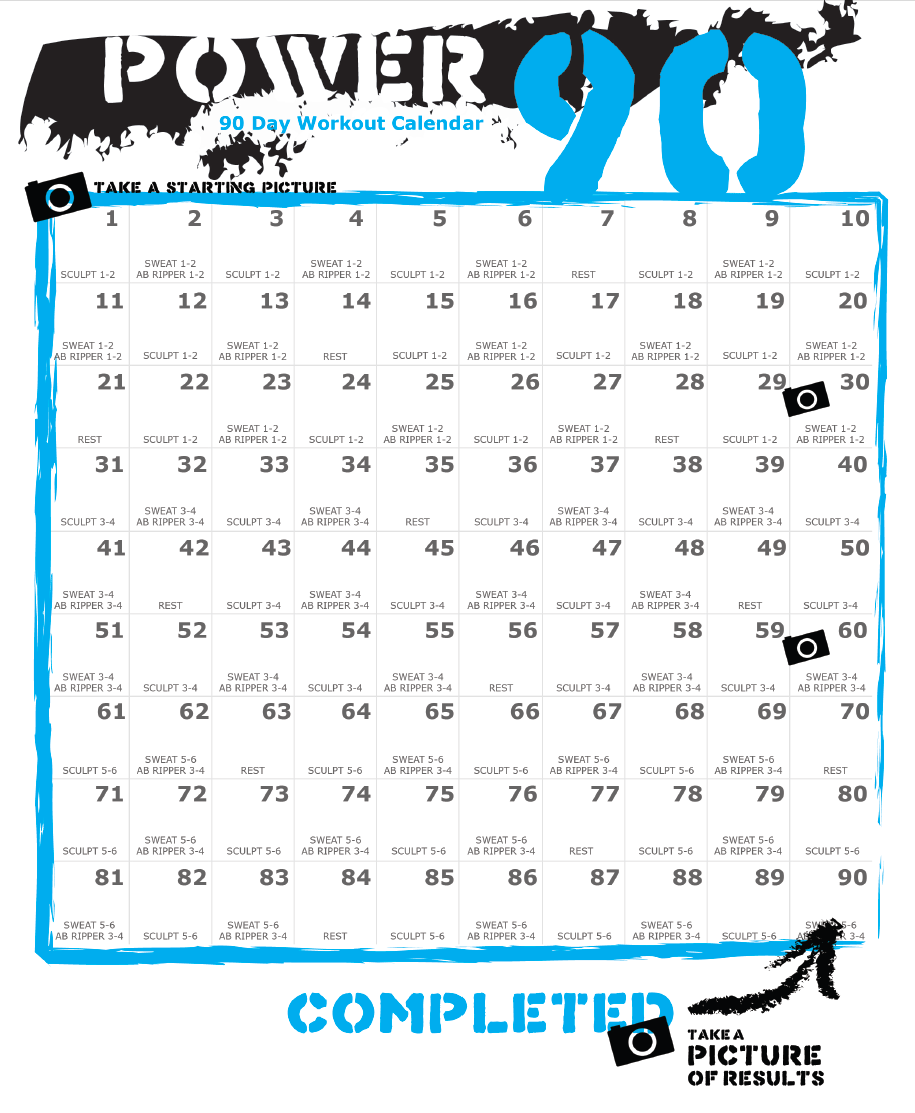 calendario de power 90 beachbody